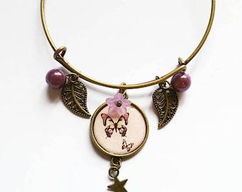 Bracelet: pretty butterflies and purple
