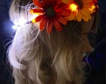 Autumn Colors LED Flower Crown, Medium Daisies with White LED, Light Up Flower Crown, Light Up Crown, Festival, Rave, Light up Headband