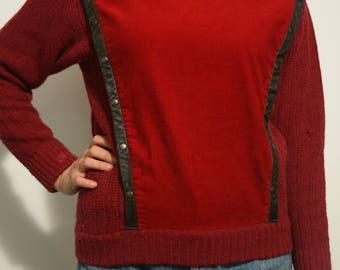 Knitted and Cord Turtleneck
