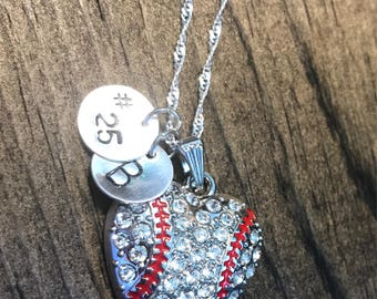 Personalized Baseball Heart Necklace Hand Stamped Necklace, Baseball Jewelry, Sports Jewelry, Sports Necklace