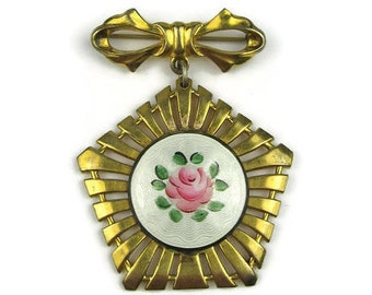 Vintage Guilloche Rose Brooch