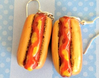 Grilled Hot Dog Earrings - Miniature Food Jewelry - Fast Food Jewelry - Inedible Jewelry - Kid's Jewelry - Hot Dog Jewelry - Kawaii Jewelry