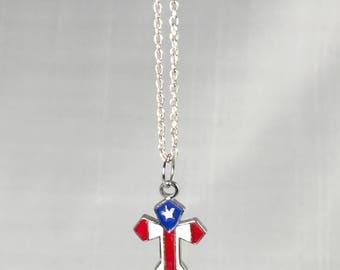 Vintage American Flag Cross Necklace