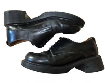 Vintage Dr. Martens Black Shiny Platform Dress Shoes