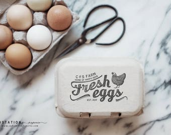 Custom Chicken Rubber Stamp - Egg Carton Stamp - Fresh Eggs Stamp - Egg Carton Labels - Backyard Chickens - Egg Stamp - Egg Packaging
