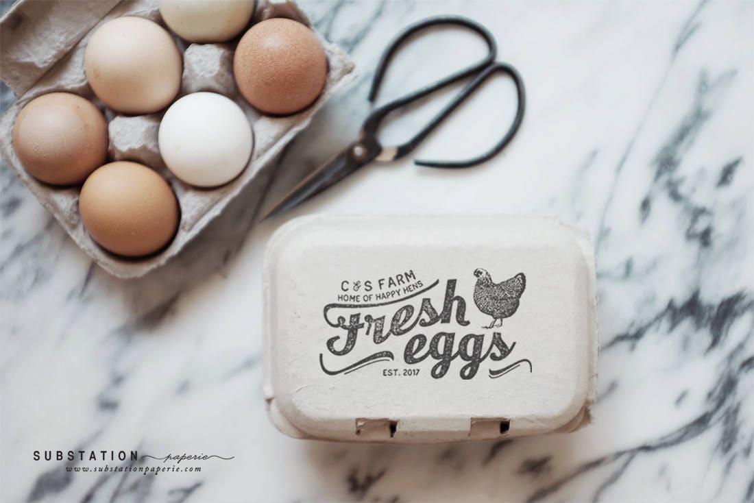 custom chicken rubber stamp egg carton stamp fresh eggs