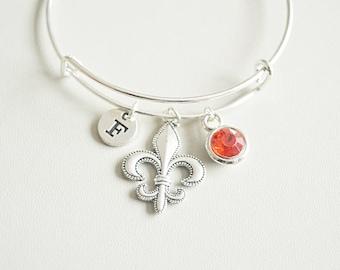 Fleur de Lis  Bangle, Fleur de Lis Bracelet, Personalized Fleur de Lis Gift, Fleur de lis jewelry, fleur, Fleur-de-Lis, Charm, Silver gift