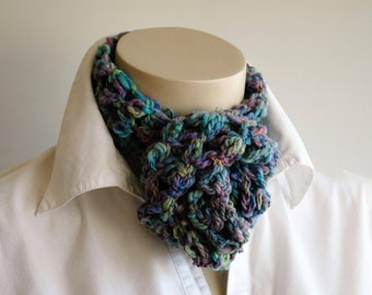 Handspun infinity scarf / lacy cowl / variegated turquoise / summer scarf