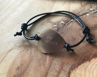 Custom bracelet for men personalized bracelet for men mens leather bracelet guitar custom guitar picks boyfriend bracelet dad bracelet