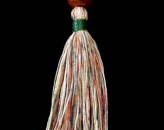 Handmade tassel necklace, OOAK ,hand dyed cotton and pearl cotton with amber lucite bead, variegated green, orange, rust and black cherry