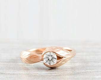 Rose gold Leaf nature engagement ring with white sapphire, diamond or moissanite