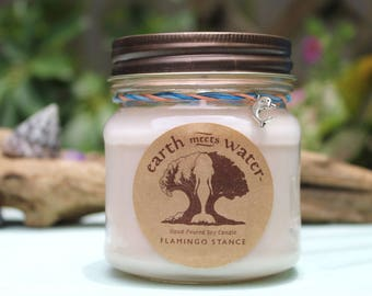 Flamingo Stance 8 oz soy candle hand poured