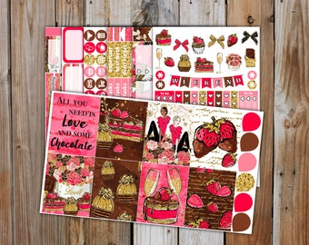 Chocolate Love Planner Sticker DELUXE KIT (7 Pages) | Chocolate & Strawberries Valentines Stickers Kit for use with Erin Condren LifePlanner