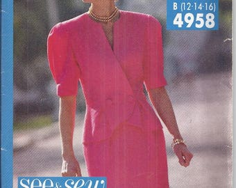 Butterick/See and Sew 4958 Sewing Pattern from 1990.  Easy Pattern. Misses Top and Skirt Bust 34-38  UNCUT