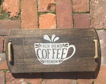 Coffee re-purposed Kentucky  barrel head tray