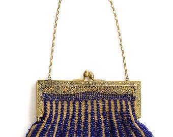 1920s or 30s beaded mesh purse