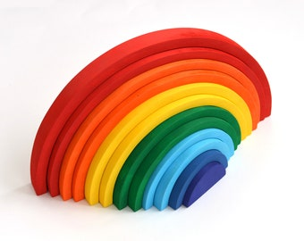 Montessori toys, Waldorf Toys, Busy Toddler Toy, Wooden Rainbow Toy, Wooden Rainbow M, Wooden puzzle, Learning toy, Baby toy, Stacker Puzzle