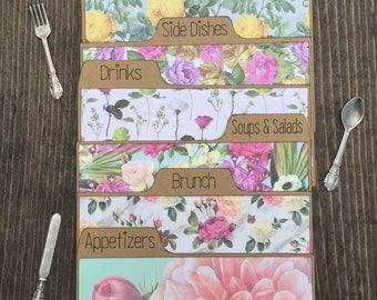 Recipe Dividers 3x5, 4x6, Floral, Coral, Aqua, Shabby Chic