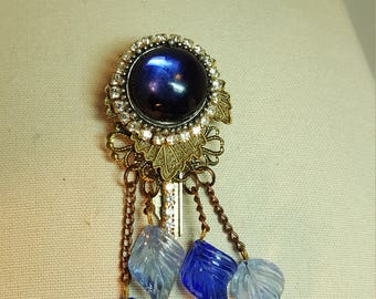 Re-purposed, upcycled vintage style key blue swing pin brooch