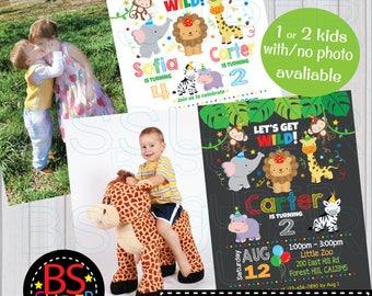 Safari Birthday Invitation , Jungle Birthday Party , Zoo Party Animal Birthday Invitation, Safari invite, Jungle Party Animal invitation