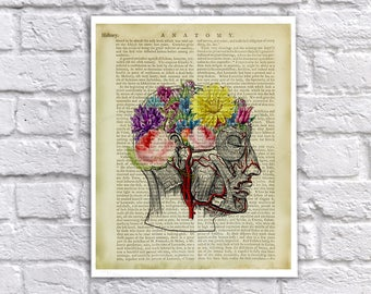 Anatomy Art - Human Head Drawing with Flowers for Brain Vintage Anatomy Textbook Page Collage Art - Anatomy Print - Anatomy poster
