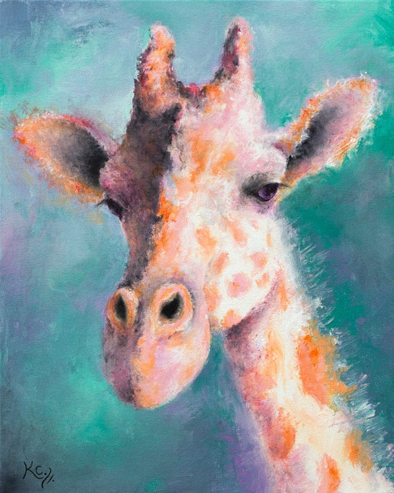 Giraffe Painting - Giraffe Art, Giraffe Artwork, Giraffe Decor, Giraffes, Giraffe Gift, Original Painting 20 x 16 inches, Acrylic on Canvas.