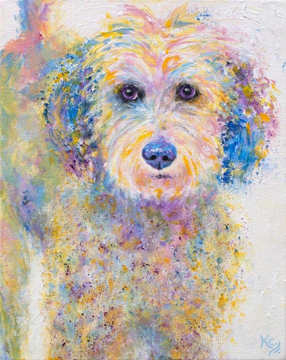 "Golden Doodle Art - Golden Doodle Gifts, Goldendoodle Dog Art, Pop Art Dog Wall Art, Dog Art Print, Print of My Dog Painting ""Oliver""."