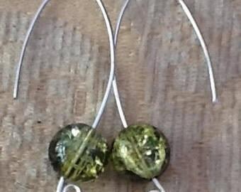 Sterling silver earring, green glitter ball earring, green crackle beads, classic designer earring, gift wear , ladies presents