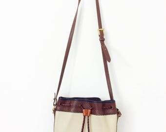 Vintage Dooney & Bourke bag white bag white purse white leather bag white Dooney and Bourke purse dooney bourke bucket bag cross body bag