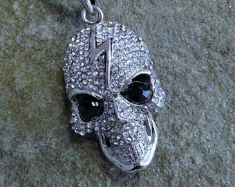 3D Skull Pendant Large Rhinestone Skull Gruesome Goth Pendant on Suede Necklace Teen Gift Skeleton Jewelry Gift Halloween Jewelry for Fun