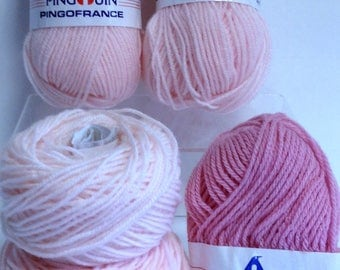 Pingouin Wool Yarn Vintage Pingouin Pink Yarn Bundle, Pingofrance Yarn Destash Made in France DK Yarn For Knitting & Crocheting Handmade