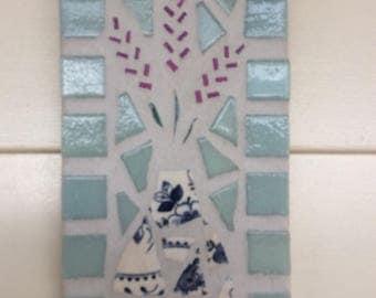 Handmade mosaic lavender plaque