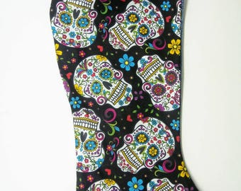 Handmade Christmas Stocking, Day of the Dead Themed Colorful Sugar Skulls Pattern, with Blue Jean Backing and Colored Fringe