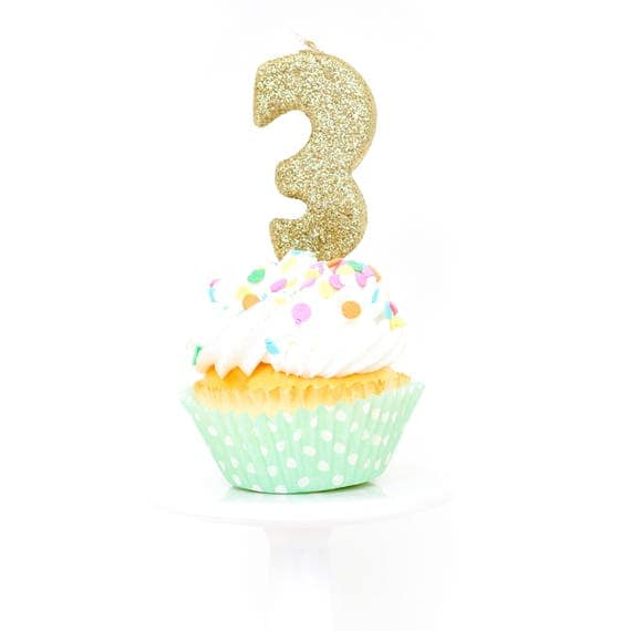 "3"" Number 3 Candle, Giant 3 Candle, Gold Birthday Candle, Gold Party Decor, Three Glitter Candle, Gold Glitter Candle, Birthday Party"