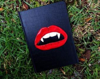 vampire lips, vampire journal, vampire lips notebook, gothic notebook, vampire diary, custom notebook, lined journal, polymer clay journal