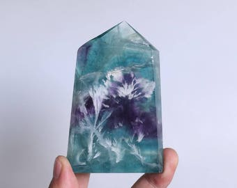 Rare Fluorite Flowers ,Fluorite Flowers Point,Fluorite Flowers Growth Within The White Fluorite,Fluorite Wand Point Healing J934