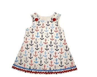 Girl Aline dress, girl dress, girl aline dress baby dress toddler dress, girl, A-line dress, girl dress girl clothes nautical girl dress