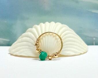 Gemstone Emerald  conch piercing, gold conch earring, silver conch ring,conch hoop,conch piercing jewelry,18-22 gauge,12-16mm inner diameter