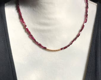 Garnet Nugget and Gold Filled Curved Tube Necklace 19""