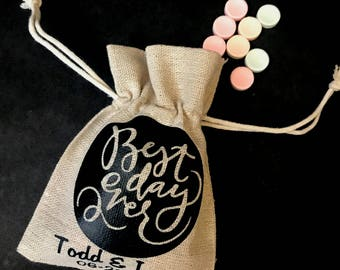 Best Day Ever Burlap Favor Bags - wedding gift bags - burlap party favor bags - wedding party - personalized bags - wedding candy bags