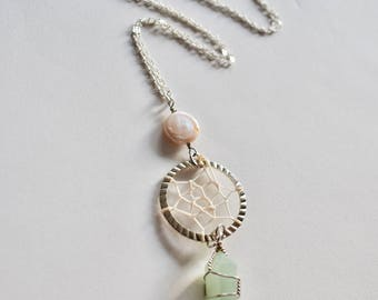 GREEN QUARTZ Crystal DREAMCATCHER Necklace