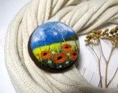 Teacher gift,flower jewelry,gift for women,poppy brooch,best mom gift,flower power orange jewelry,lapel pin,dress brooch