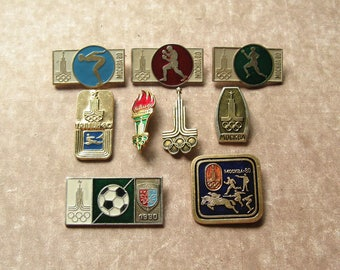 9 Olympic Pins, Moscow 80, Soviet Olympic Pin, Olympic Games, Sports Collectible, Olympic Collectible, Gift for Sportsmen