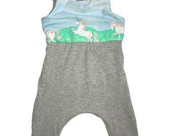 Unicorn JUMPSUIT / ROMPER -  playsuit - size 9-12 M