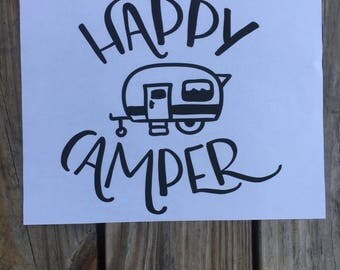 Happy Camper Iron-On Vinyl Decal~ Glitter Iron-On Vinyl Decal~ Iron-On Vinyl Decal~ Camper Decal