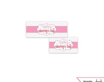 Valentine's Day Treat Bag Toppers, Valentine's Day, Bag Toppers, Classroom Treat Bag, Candy Bag, Printable, Polka Dot, Pink, Download