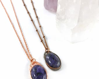 Purple Stone Necklace, Charoite Pendant, Raw Crystal, Electroformed Necklace, Copper Necklace, Purple Gemstone, Healing Stone, Rose Gold