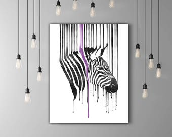 Zebra Print, Black And White Art, Room Wall Decor Animal Head, Zebra Wall Art, Safari Print, Drip Painting Watercolor Download Modern Poster
