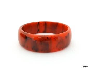 Bakelite bangle bracelet rusty orange black swirl pattern
