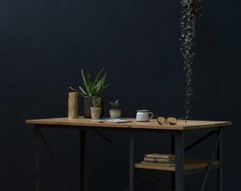 KONK! INDUSTRIAL Oak Desk Table [Bespoke sizes!] Rustic Reclaimed Vintage chic